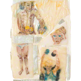 Jérémie (Fragments of Body and Fragments of Time), acrylic paint on velvet and silver lamé fabric put together with resin