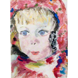 Alix, Portrait, acrylic paint on cotton hessian, 20cm*30cm