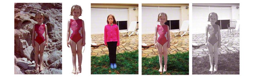Alix et Adèle devant la maison de Kerzafloc'h, 2 photographies, détourages et montages, Marie-Claire Raoul
