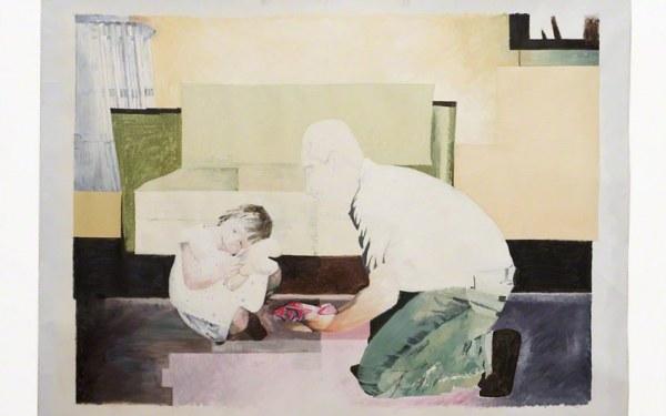 Franck offre le maillot de bain à Alix, huile sur toile, Marie-Claire Raoul