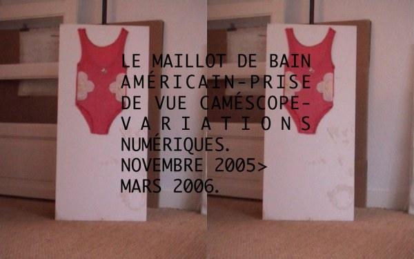Le maillot de bain américain prise de vue au caméscope dans l'atelier, Marie-Claire Raoul