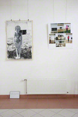 View of the exhibition [The american bathing suit], Milizac, February 2011