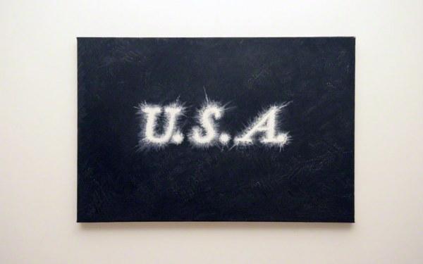 peinture, texte, U.S.A., huile sur toile, Marie-Claire Raoul