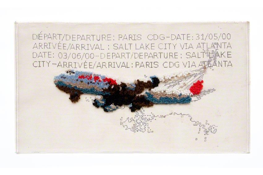 Paris CDG > Salt Lake City : décollage de l'avion de Franck le 31 mai 2000, voyage, tapis aux points noués sur canevas, Marie-Claire Raoul