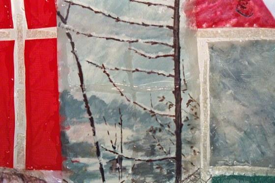 Alix marche sur un chemin rouge dans la neige, acrylique sur tissus, brindilles, matériaux mixtes, assemblage par résine rigide (détail 1), 90cm*70cm, Marie-Claire Raoul