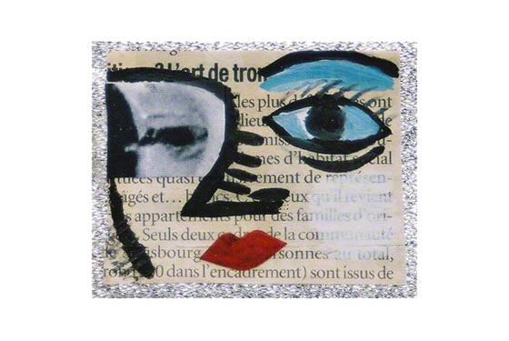 They Are Listening (10th detail: Alix's face, gouache paint and collage on newspaper), Marie-Claire Raoul