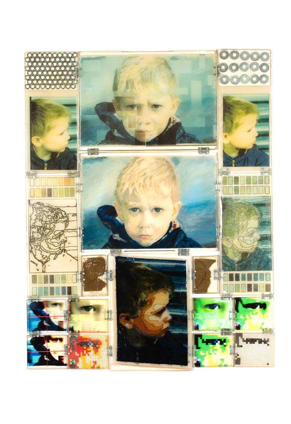 Jérémie est furieux, manipulations numériques, peintures, résine, canevas, perles en plastique, Marie-Claire Raoul
