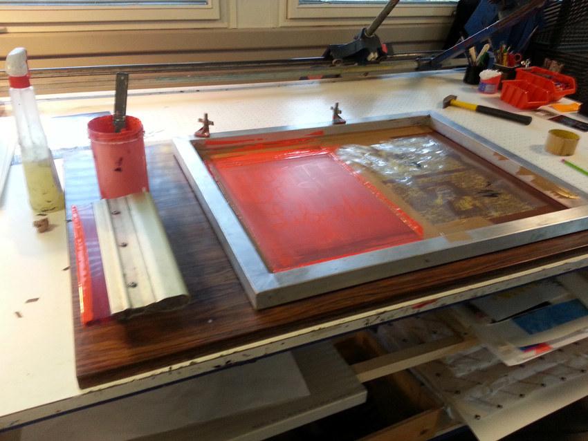Workshop sérigraphie à l'atelier La presse purée à Rennes, 3ème passage d'encre