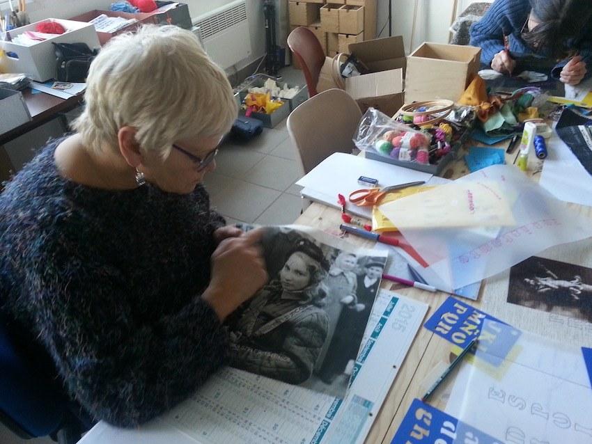 Atelier #4 Paroles et images de femmes, 3 février 2018, Jocelyne brode Erika Szeles, Marie-Claire Raoul, Local de la Pointe, Brest