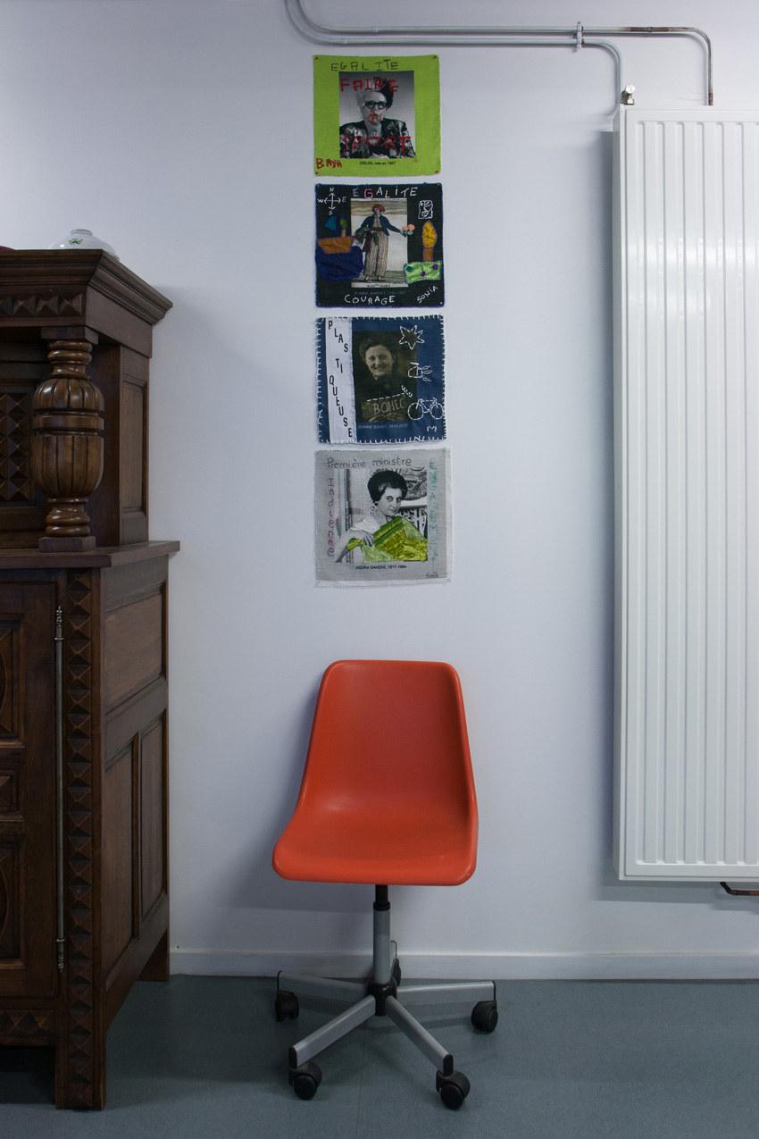 Travaux de Baya, Sonia, Lydie, Gaëlle; Installation textile collective, Paroles et images de femmes, Lcause, Brest, exposition de mai à juin 2018, Marie-Claire Raoul