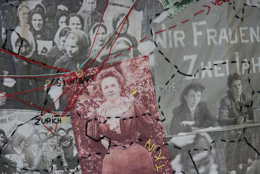 Paroles et images de femmes, panneau textile Le gac-Lemel-Zedkin-Gruenig, Lcause, Brest, exposition de mai à juin 2018, Marie-Claire Raoul