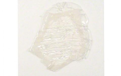 Cellule en velours incluse partiellement dans résine souple, cousue sur support plastique, Marie-Claire Raoul