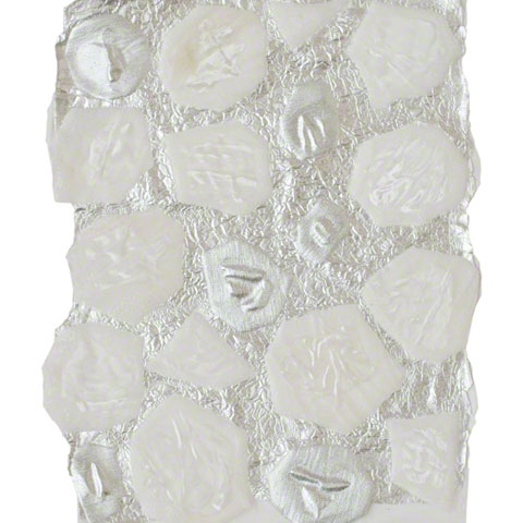 Velvet or silvery fabric cells joined to aluminium leaf through partial enclosure in flexible resin, 30cm*20cm