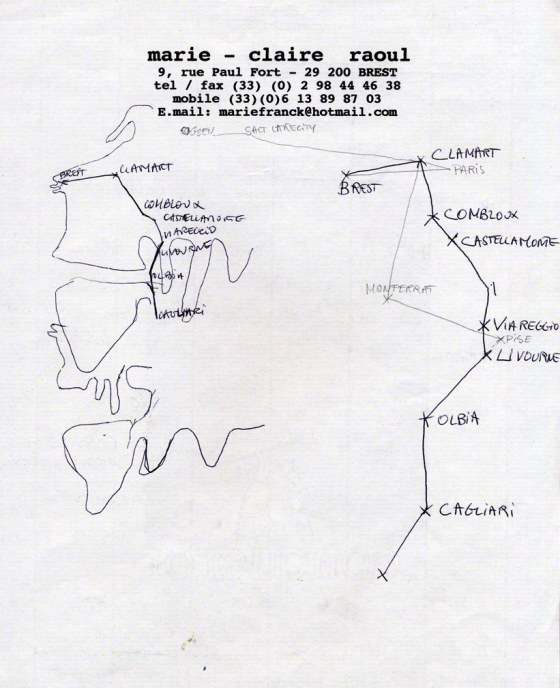 drawing of Alix's itinerary – and the american bathing suit's – in the summer 2001, Marie-Claire Raoul