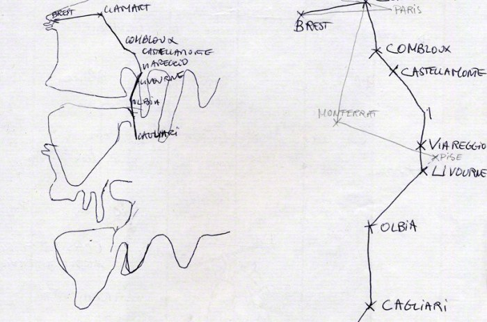 Drawing of Alix's itinerary – and the american bathing suit's – in the summer 2001