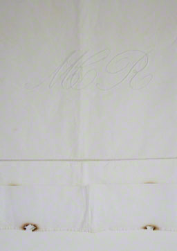 Cotton and linen hessian embroidered with white cotton thread in the summer of 1980 by Alix's mother