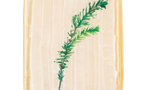 Bruyère sur résine, peinture acrylique sur bloc de résine