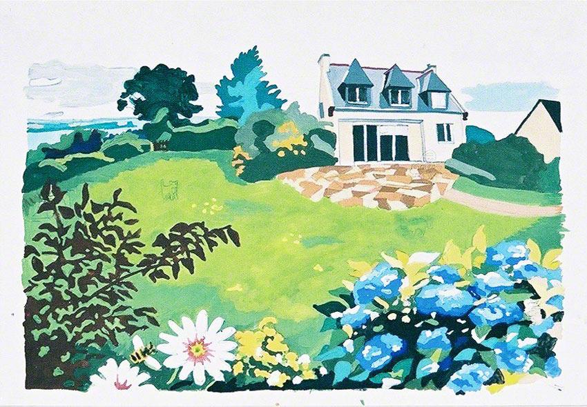 La maison de kerzafloch, esquisse pour un canevas, gouache sur papier, Marie-Claire Raoul