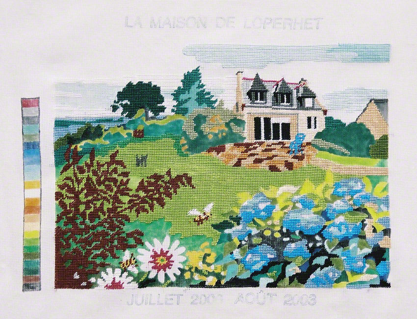 The Kerzafloc'h house, ink and embroidery on canvas, Marie-Claire Raoul