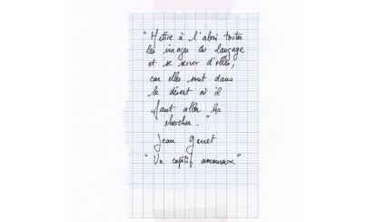 copie de l'exergue du livre «Un captif amoureux&raquo de Jean Genet