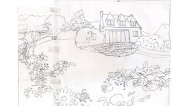 La maison de Loperhet, calque pour canevas