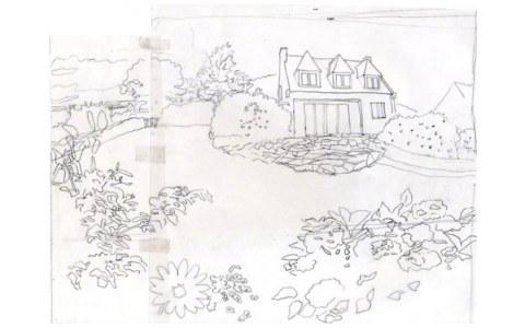 La maison de Loperhet, calque pour canevas, Marie-Claire Raoul