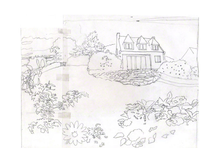 The house Loperhet, layer to canvas, gray pencil on tracing paper, Marie-Claire Raoul