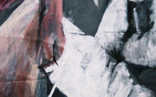 Alix dans les rochers de Capo Sandalo, peinture, été 2001 (détail)