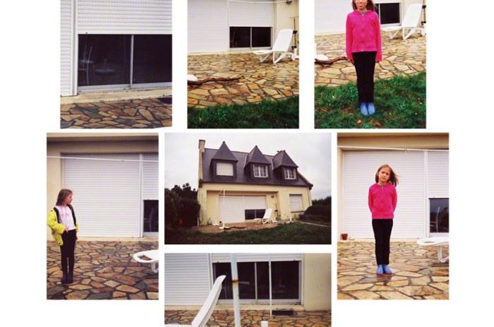 Alix et Adèle devant la maison de Kerzafloc'h, montage de 7 photographies couleurs