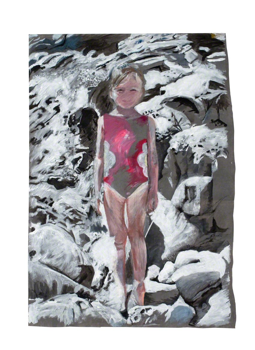 Alix in the rocks of Capo Sandalo on San Pietro Island in Sardinia, acrylic paint on non-woven fabric, Marie-Claire Raoul