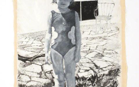 Alix devant la maison de Kerzafloc'h. 07/00, peinture, huile sur toile, Marie-Claire Raoul