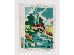 "Canvas ""WATER MILL"", probably made by the mother of Alix in 1974"