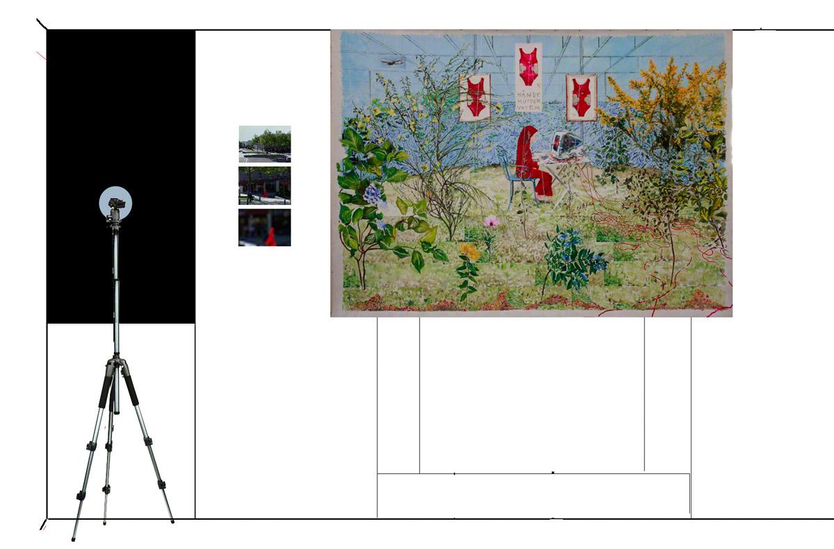 Maison de la Fontaine, proposition de mise en espace , étage 2, vue 5 : la longue-vue, la jeune fille au voile rouge, le rêve ou la jeune fille à l'ordinateur, Marie-Claire Raoul