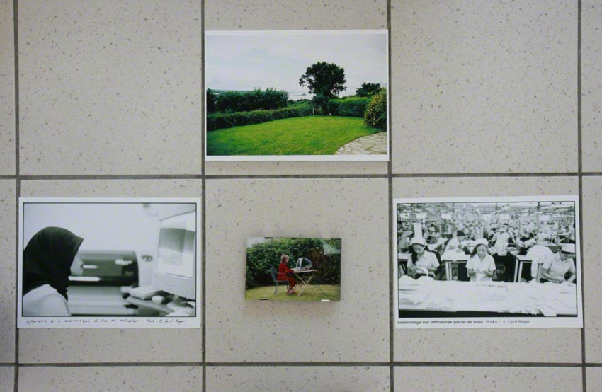 [The Dream] – 4 pictures on floor tiles, view of the exhibition, Milizac, February 2011, Marie-Claire Raoul
