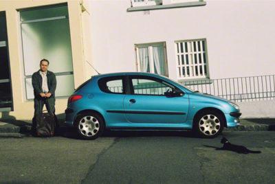 Franck et la Peugeot 206, rue Paul Fort à Brest, simulation du départ,vue 2