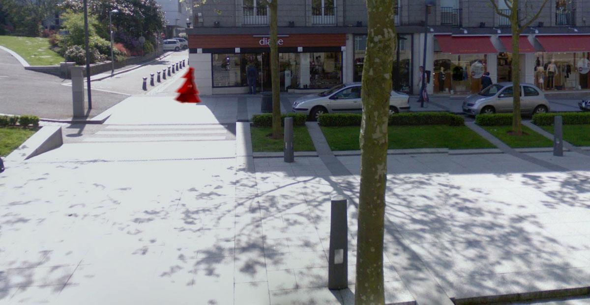 La jeune fille au voile rouge, vue 2, place de la Liberté, Brest, Marie-Claire Raoul