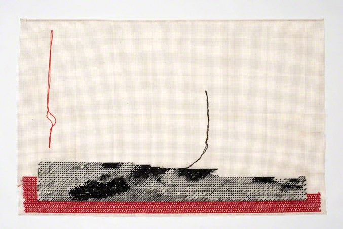 NEVER MADE IT BACK, embroidery on canvas, Marie-Claire Raoul