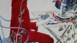 [Le rêve ou la jeune fille à l'ordinateur], huile sur toile en cours de réalisation, détail
