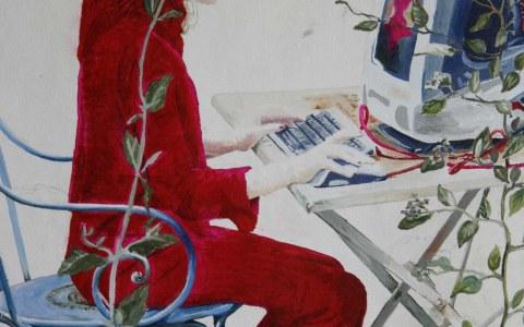 [Le rêve ou la jeune fille à l'ordinateur], huile sur toile en cours de réalisation, détail, Marie-Claire Raoul