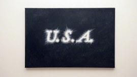peinture, texte, U.S.A., huile sur toile