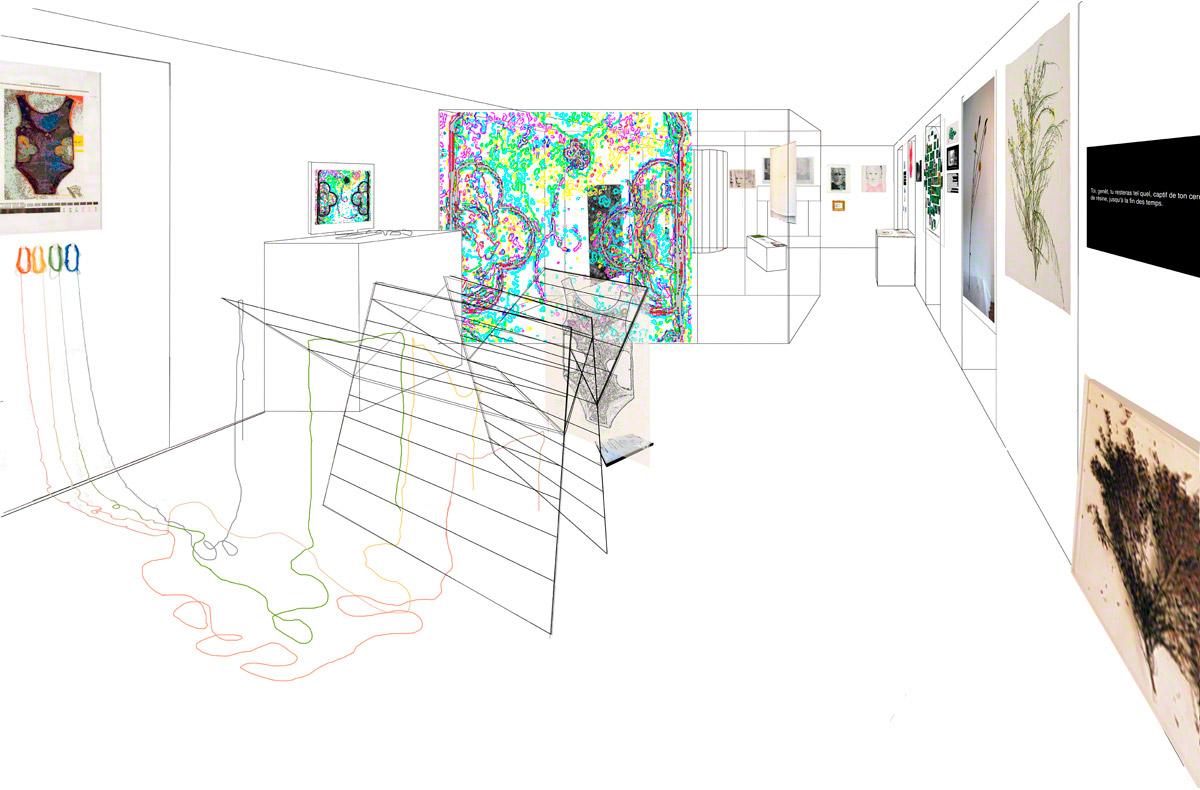 Maison de la Fontaine, proposition de mise en espace, étage 1, vue 1, Marie-Claire Raoul