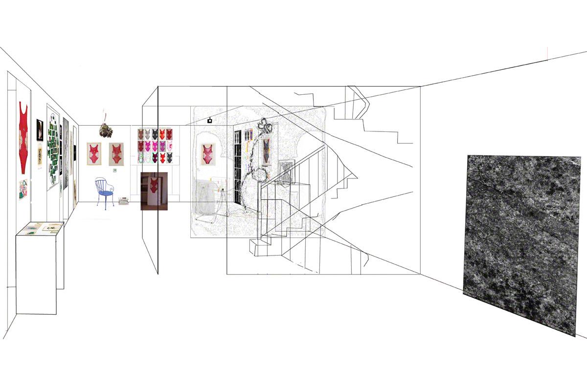 Maison de la Fontaine, Brest, proposition for arranging the space, 1st floor, view 2, Marie-Claire Raoul