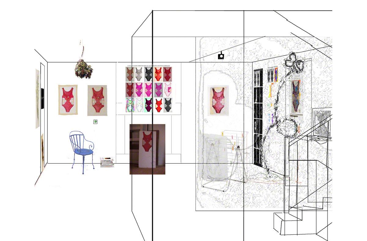 Maison de la Fontaine, Brest, proposition for arranging the space, 1st floor, close-up view 2, Marie-Claire Raoul
