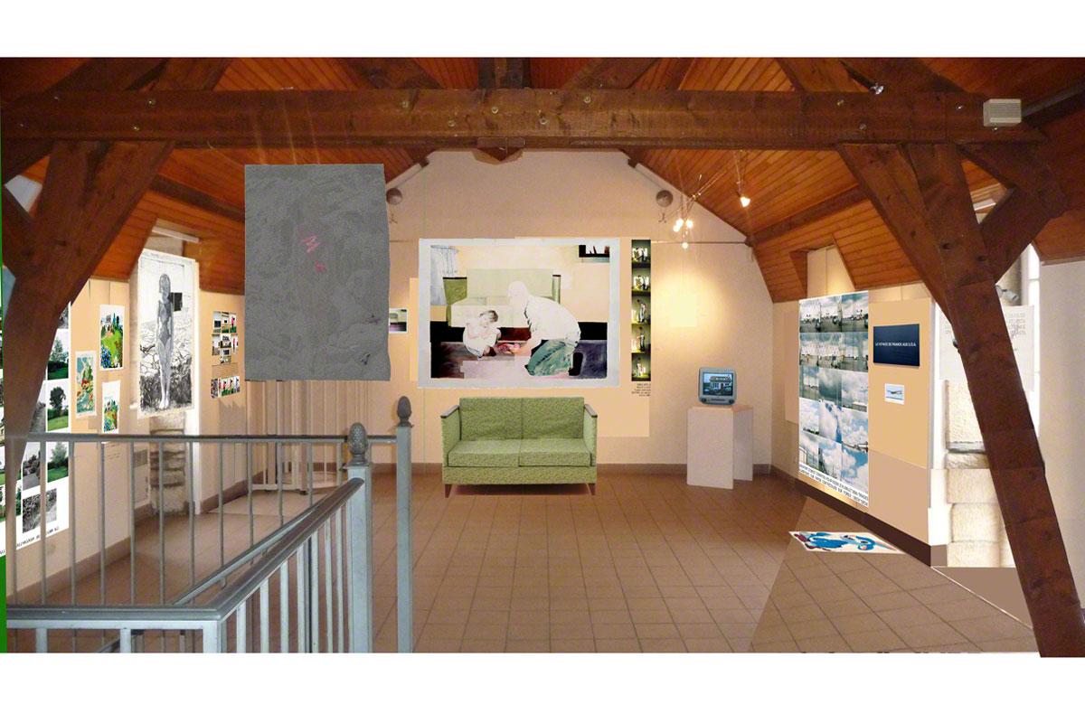 Maison de la Fontaine, Brest, proposition for arranging the space, 2nd floor, view 3, Marie-Claire Raoul