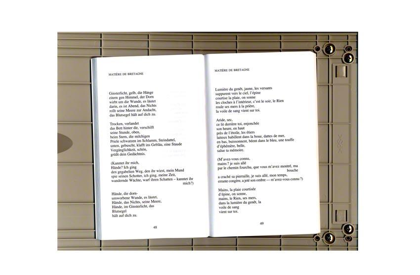 Matière de Bretagne, poème de Paul Celan extrait du recueil Grille de parole, Marie-Claire Raoul