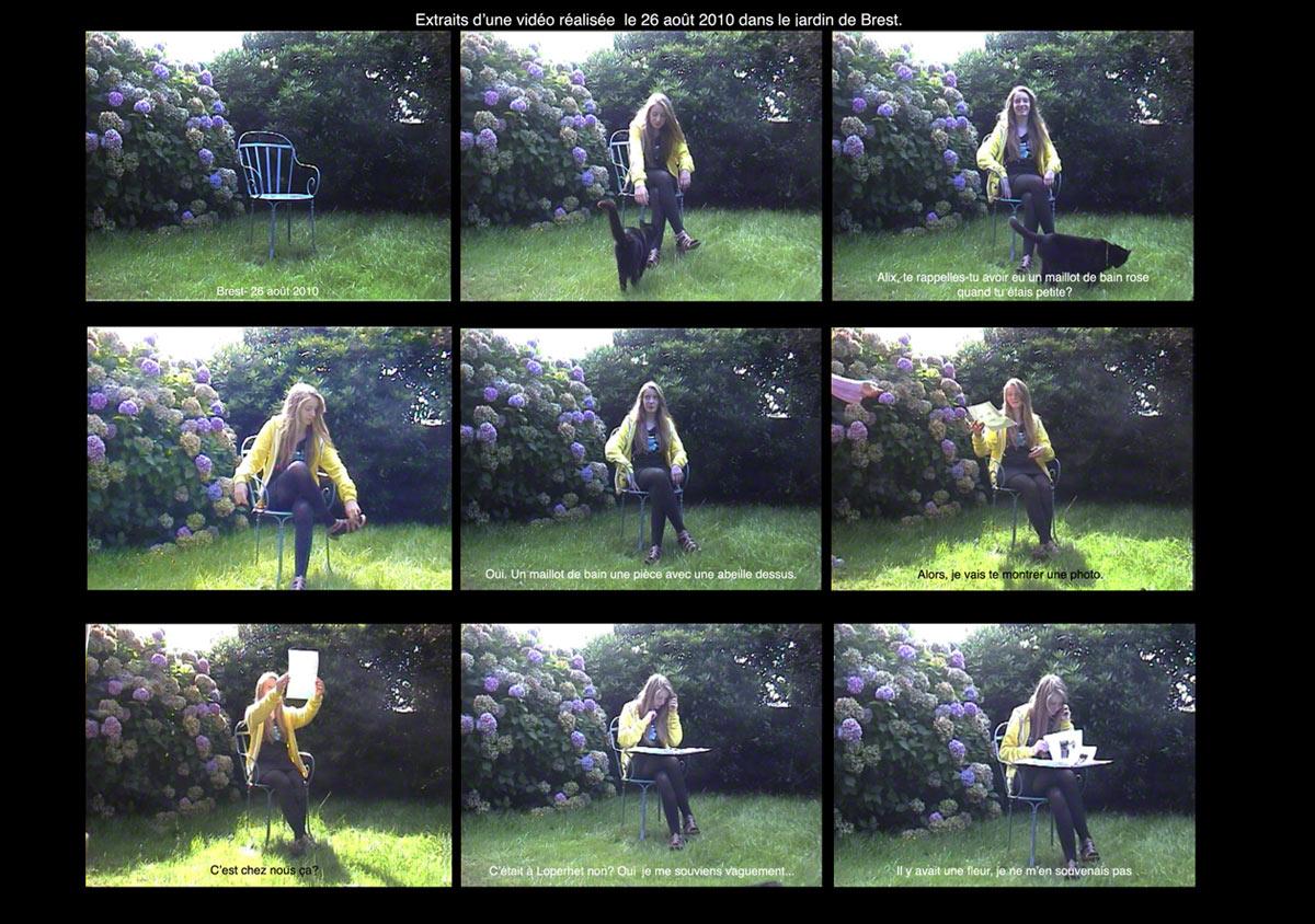Storyboard de l'entretien avec Alix le 26 août 2010 dans le jardin de Brest, Marie-Claire Raoul