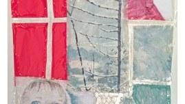 Alix marche sur un chemin rouge dans la neige, acrylique sur tissus, brindilles, matériaux mixtes, assemblage par résine rigide, 90cm*70cm