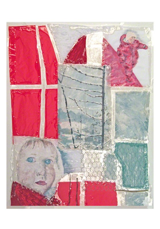 Alix is walking on a red path in the snow, acrylic paint on fabric, twigs, combined materials, put together with rigid resin, Marie-Claire Raoul