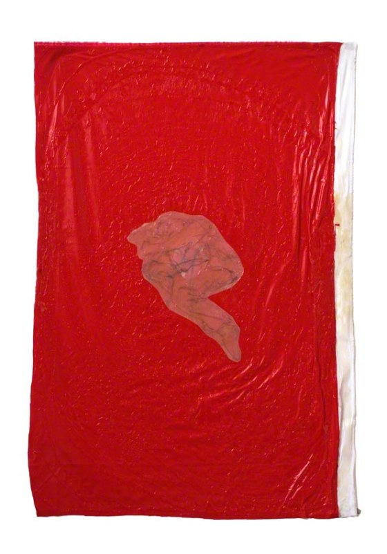 Rest 2, Jérémie hanging in a red synthetic space, pencil lead on tracing paper, coated fabric, resin, Marie-Claire Raoul