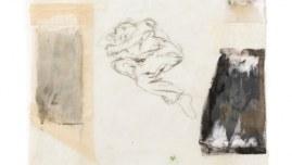 Repos, Jérémie dort à même le sol, photographies sur tissus, dessin, résine, 120cm*80cm, novembre 2003